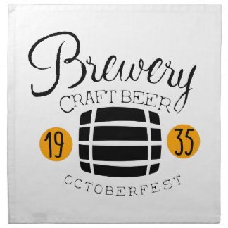 Brauerei-Logo-Entwurfs-Schablone mit Fass Serviette