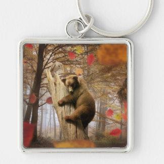 Braunbär, der auf Baum klettert Schlüsselanhänger