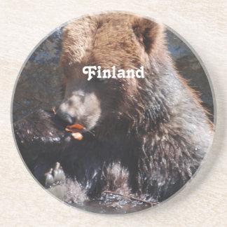 Braunbär in Finnland Sandstein Untersetzer
