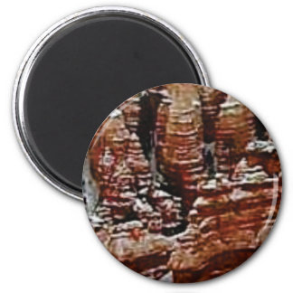 braune Felsenabnutzungstürme Runder Magnet 5,1 Cm