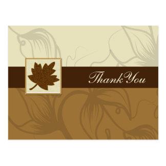 braune Hochzeit im Herbst danken Ihnen Postkarte