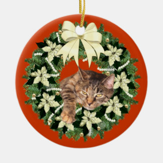 Braune Weihnachtskatze Keramik Ornament