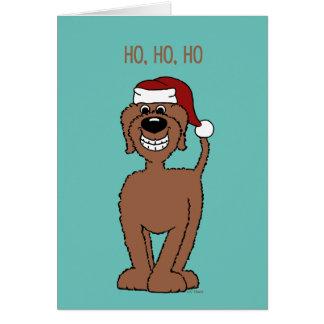 Brauner Doodle Santa Karte