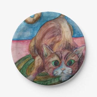 brauner Katzen-Pappteller Pappteller