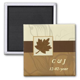 brauner Magnet des Herbstes Save the Date Quadratischer Magnet