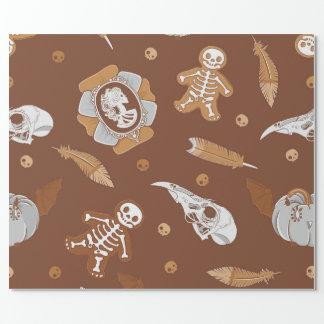 Brauner nahtloser Hintergrund Halloweens mit Geschenkpapier