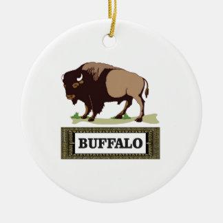 brauner Umbau des Büffels Keramik Ornament