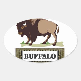brauner Umbau des Büffels Ovaler Aufkleber
