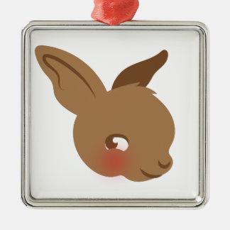 braunes Babykaninchengesicht Quadratisches Silberfarbenes Ornament