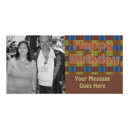 braunes orange blaues alles Gute zum Geburtstag Personalisierte Photo Karte