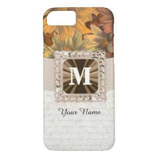 Braunes personalisiertes mit Blumenmonogramm des iPhone 8/7 Hülle