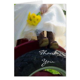 Braut auf Traktor-Land-Hochzeit danken Ihnen zu Karte