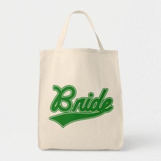 Braut (Baseball-Skript-Grün) Tragetasche