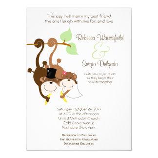 Braut/Bräutigam Monkeys unkonventionelle 14 X 19,5 Cm Einladungskarte