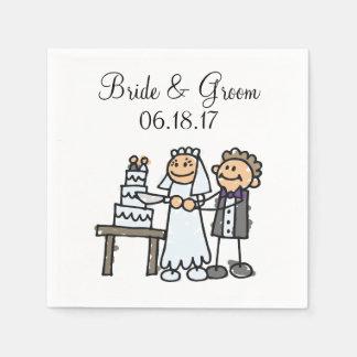 Braut-Bräutigam-Schnitt-Hochzeitstorte zusammen Serviette