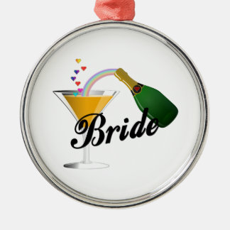 Braut-Champagne-Toast Silbernes Ornament