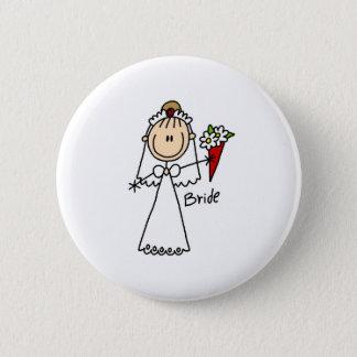 Braut, die den Blumenstrauß-Knopf wirft Runder Button 5,1 Cm