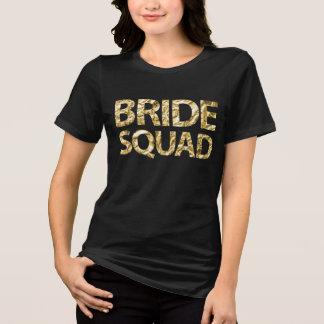 Braut-Gruppen-Goldfolien-schwarzer Frauen plus T-Shirt
