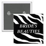 Braut-Gruppezebra-Hochzeits-Knopf Buttons