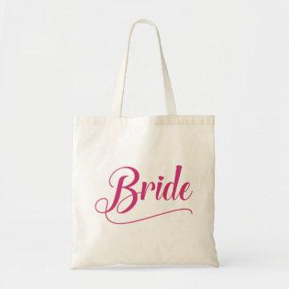 Braut-kalligraphische rosa Schafgarbe Tragetasche