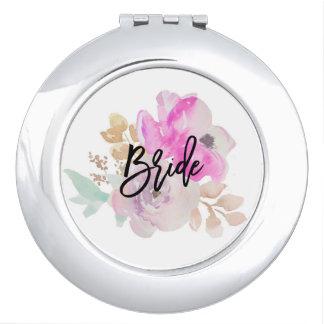 Braut-kompaktes Spiegel-mit Blumengeschenk Schminkspiegel