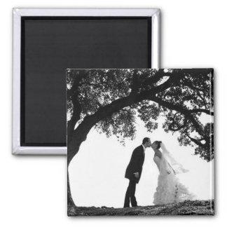 Braut-Kuss unter Eichen-Magneten Quadratischer Magnet