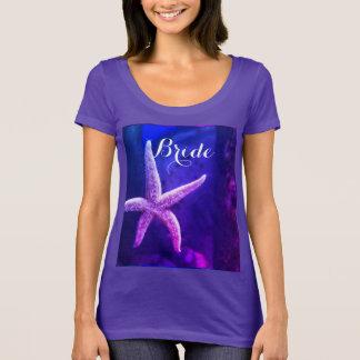 Braut-lila Strand-Hochzeitenstarfish-modernes T-Shirt