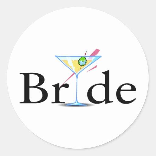 Braut-Martini-Schwarzes Runder Aufkleber