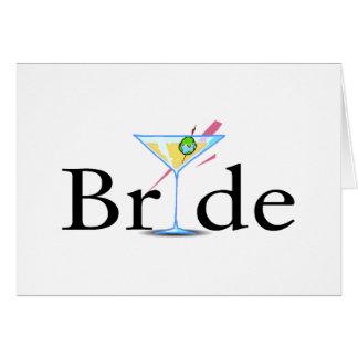 Braut-Martini-Schwarzes Grußkarte