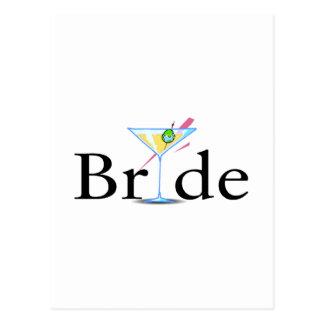 Braut-Martini-Schwarzes Postkarte