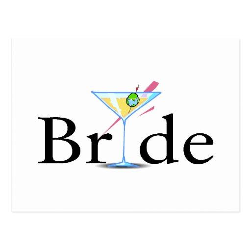 Braut-Martini-Schwarzes Postkarten