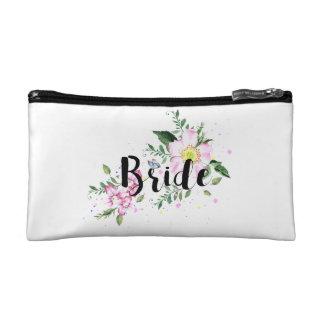 Braut-rosa BlumenAquarell-Hochzeit Makeup-Tasche