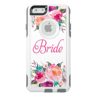 Braut-rosa GlitzerWatercolor mit Blumen OtterBox iPhone 6/6s Hülle