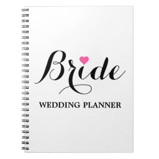 Braut-rosa Herz-Hochzeits-Planer-Notizbuch weiß Notizblock