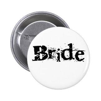 Braut-schwarzer Text Runder Button 5,7 Cm