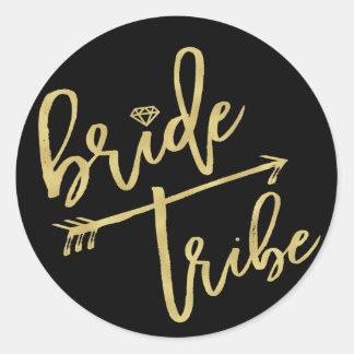 Braut-Stamm-Diamant-Brautparty-Hochzeits-Aufkleber Runder Aufkleber
