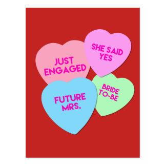 Braut-Süßigkeits-Herzen Postkarte