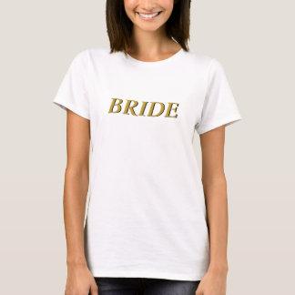 Braut-T - Shirt (weiß mit Gold und Schwarzem)