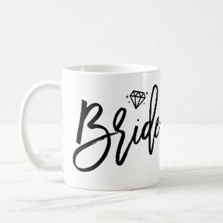 Braut-Tasse Schwarzweiss mit Diamanten Kaffeetasse