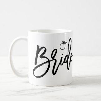 Braut-Tasse weiß und schwarz mit Ring Kaffeetasse