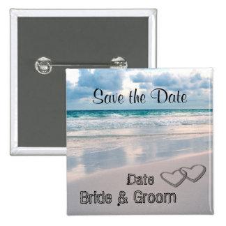 Braut u. Bräutigam nennt geschrieben in den Sand Quadratischer Button 5,1 Cm
