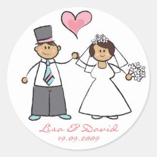 Braut-u. Bräutigam-niedlicher Paar-Herr u. Frau Runder Aufkleber