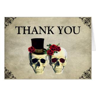 Braut-u. Bräutigam-Schädel-Hochzeit danken Ihnen Grußkarte