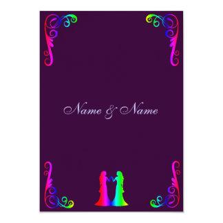 Braut und Braut - Regenbogen und lila Hochzeit 12,7 X 17,8 Cm Einladungskarte