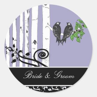 Braut-und Bräutigam-Birken-Baum-Vintager Runder Aufkleber