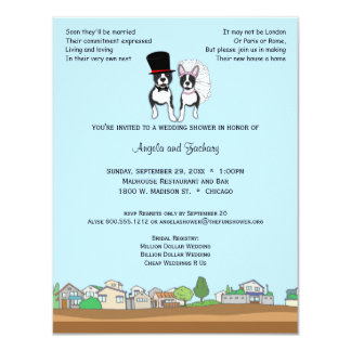 Braut-und Bräutigam-Boston-Terrier-Polterabend 10,8 X 14 Cm Einladungskarte