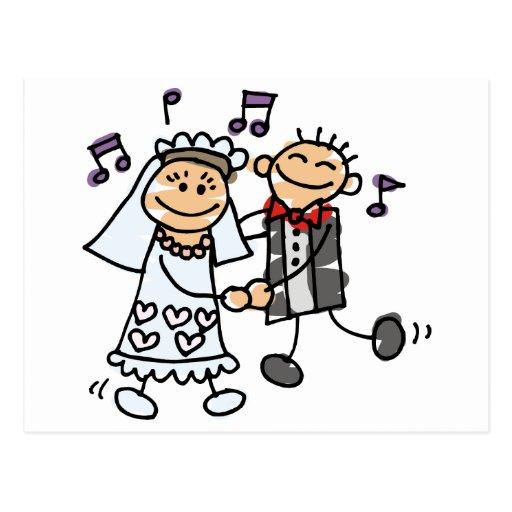 Braut und Bräutigam feiern Postkarte