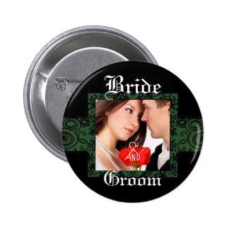 Braut-und Bräutigam-Foto-Knopf Runder Button 5,7 Cm