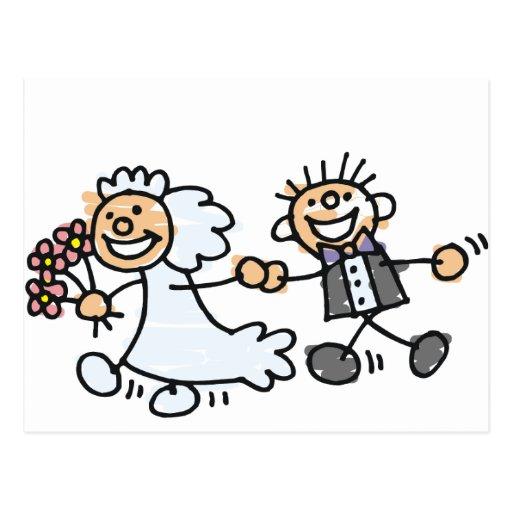 Braut-und Bräutigam-Hochzeit Elope Entlaufen Postkarten