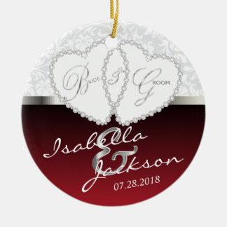 Braut-und Bräutigam-Hochzeits-Andenken - dunkelrot Keramik Ornament